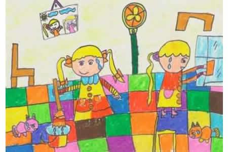 我们帮妈妈打扫卫生感恩节儿童画图片