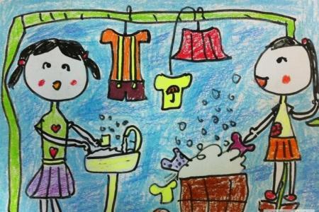 和姐姐一起洗衣服二年级劳动节图画分享