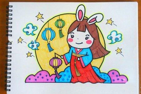 中秋节简笔画教程:嫦娥奔月