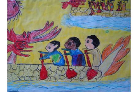 端午节儿童画作品欣赏-赛龙舟了
