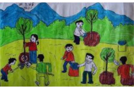 植树节三年级画作品之植一片绿色