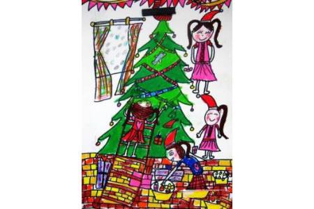 儿童画女孩们的圣诞树