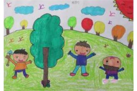 三个小男孩种树关于植树节的图画