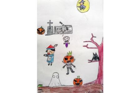 万圣节主题儿童画-万圣节化装舞会