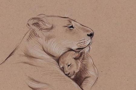 狮子妈妈和小狮子母亲节儿童创意画图片大全