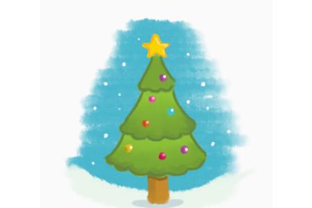 水粉画圣诞树的画法