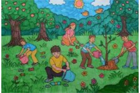 绿化我们的家园五年级植树节画画作品分享