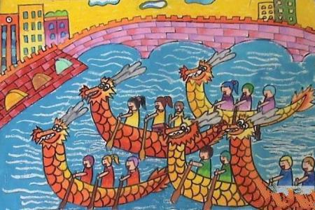 端午节儿童画作品-快乐的端午节