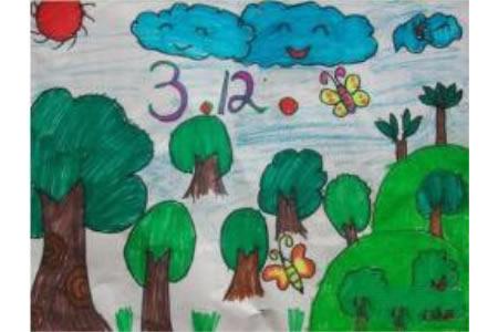 植树节的欢乐小学生植树节绘画作品赏析