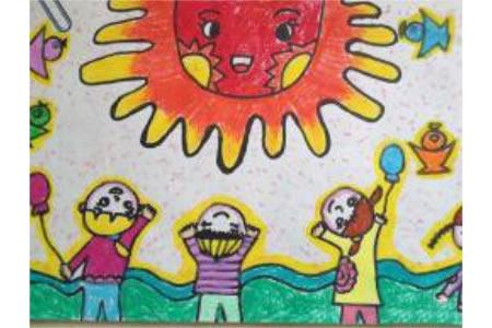 我和太阳共成长,欢庆国庆节主题画作品