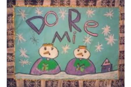 唱歌雪人国外冬天图画绘画