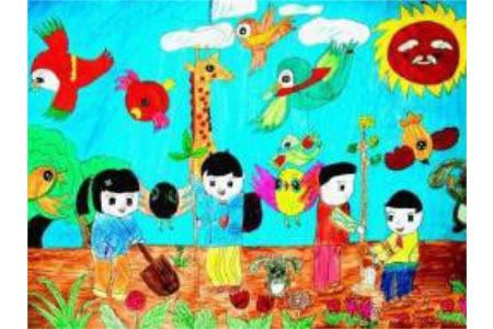 儿童画春天的景色-我们一起来植树