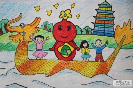 可爱的粽子娃娃端午节赛龙舟绘画作品赏析