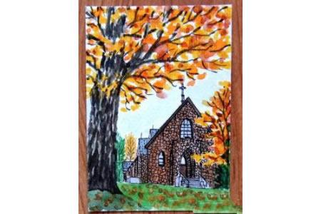 秋季的伯利恒教堂秋天水彩画作品欣赏