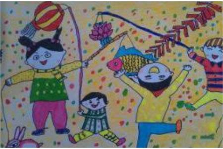 儿童画点灯笼庆新年