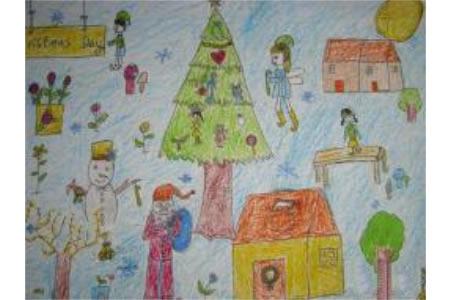 圣诞节儿童画 圣诞狂欢