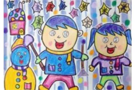 冬天的儿童画-看看我们堆得小雪人