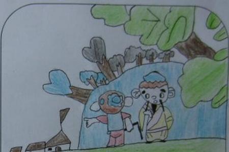 清明指路二年级小学生清明节图画分享