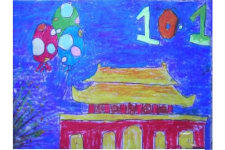 巍峨的天安门,以国庆节为主题的儿童画作品欣赏