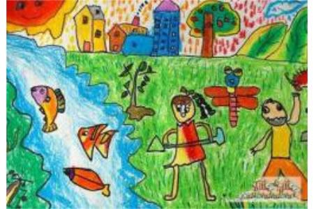 优秀儿童画作品欣赏-小破孩系列之植树节