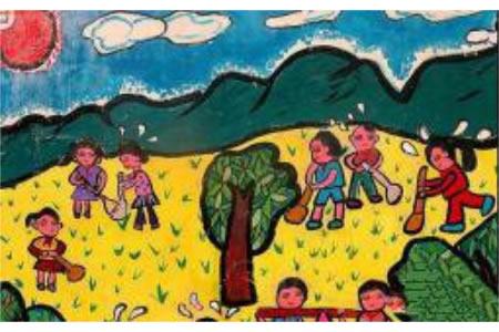 清明节儿童画作品-小朋友植树