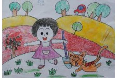 儿童画美好的春天