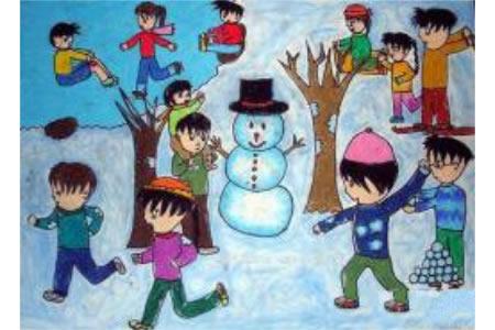 儿童画一起打雪仗
