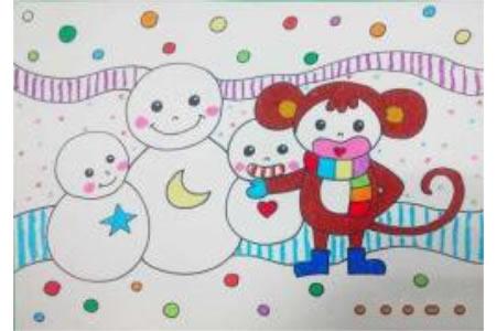 三年级小学生雪人儿童画画图片:猴子与雪人