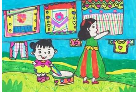 五一劳动节儿童画-我也来帮妈妈做事情