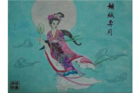 嫦娥奔月,中秋节主题儿童画作品