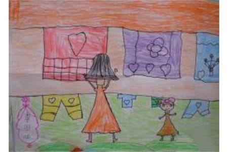 晒被单的妈妈二年级三八妇女节画作品赏析