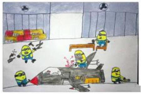 儿童画勤劳的小黄人