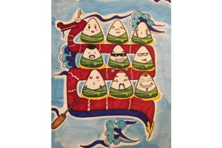 端午节儿童画 龙舟 粽子