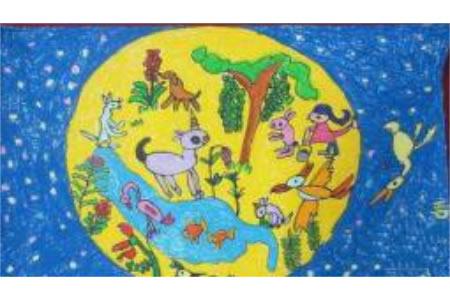 欢庆中秋节儿童画-月亮上的中秋节