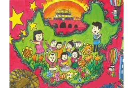 十一国庆节儿童画-我们拥有一颗心