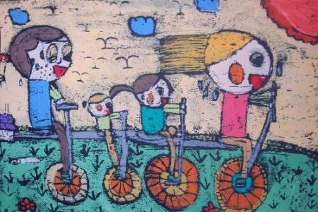 清明节踏青儿童画-全家感受春天