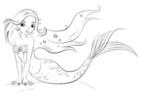 如何画卡通美人鱼