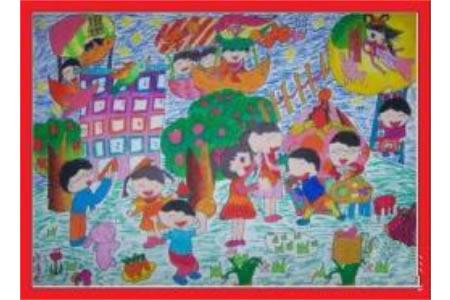 中秋节赏月儿童画-中秋月圆夜