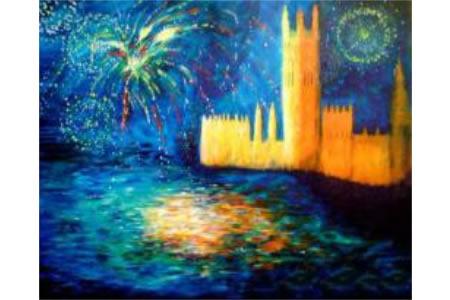 城堡外的烟火油画作品在线看