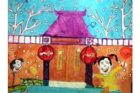 春节新年儿童画水彩画美术绘画作品欣赏