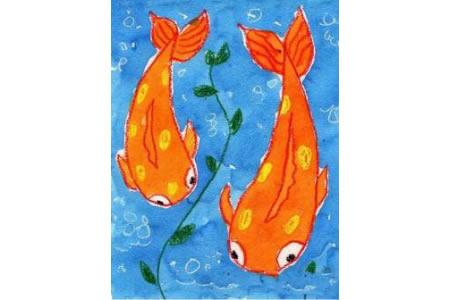 海底世界儿童画教师范画之鲤鱼母子俩