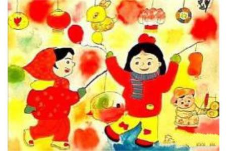 儿童关于春节过年的儿童画图片:提灯笼
