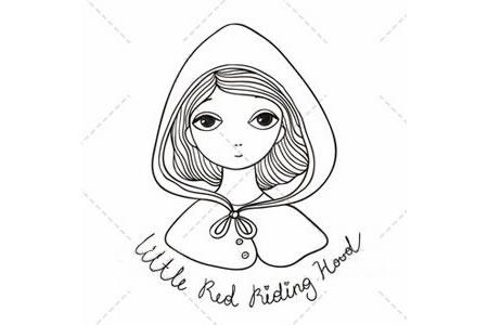 5张小红帽的简笔画图片