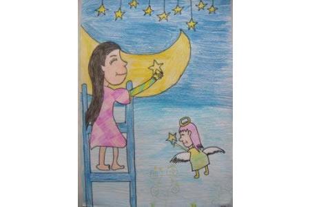中秋节儿童画作品-中秋节赏月