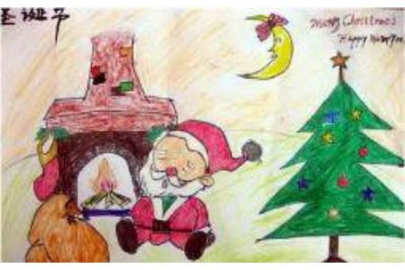 圣诞节儿童画 休息的圣诞老人