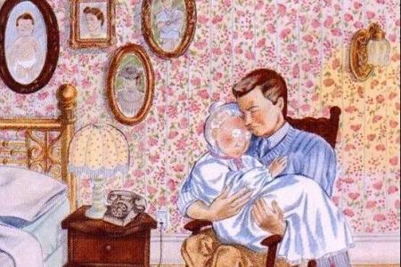 大班重阳节儿童画-操劳一辈子的妈妈