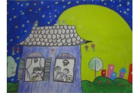 美丽的月色中秋节儿童绘画作品