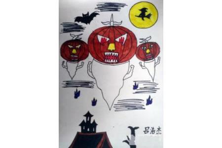 万圣节主题儿童画-杰克南瓜灯