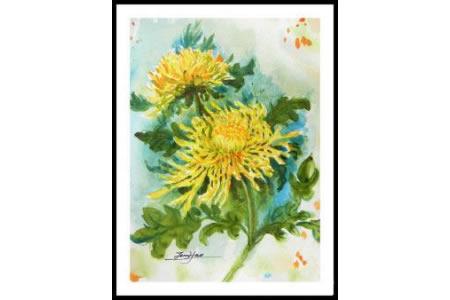 多彩的秋天儿童画之盛开的菊花