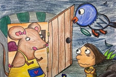 老鼠妈妈和小女孩创意动物儿童画作品欣赏